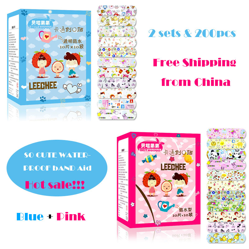 2 Sets 200PCS Waterproof Breathable Cute Cartoon Band Aid Hemostasis Adhesive Bandages First Aid Emergency Kit For Children