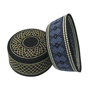 Image 4 - 2020 New Muslim Men Prayer Hats Cotton Embroidery Leisure Saudi Arabia Islamic Hat Men Headscarf Clothing Topkippot Turban