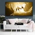 Абстрактный золотой черный любовь поцелуй стены искусства холст скандинавские плакаты и принты современные куадросы стены искусства карт...