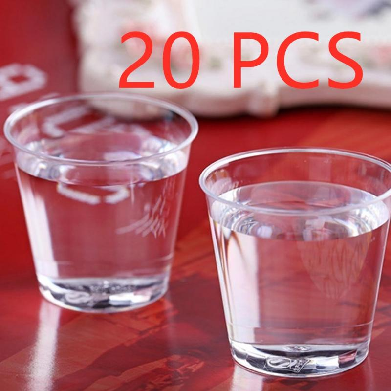 20Pcs/set 30ML Disposable Plastic Environmental Party Small Glass Cup Reusable Shot Glasses For Wedding Birthday Party Tableware