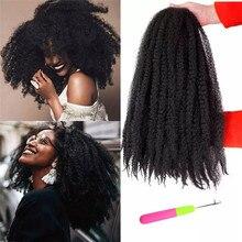 Marley Braids Hair-Extensions Hair-Crochet Kong Afro Kinky Synthetic Black Brown Bulk