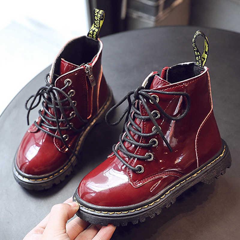 ป่าเด็ก Martin รองเท้า PU รองเท้าหนังกันน้ำ Warm เด็กสั้นรองเท้าเด็กชายหญิงรองเท้าบูทยางเด็ก Gumboots