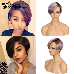 True Me Lace Curved Part Short Human Hair Wigs Ombre 613 Blonde Purple Red 100% Remy Brazilian Hair Pixie Cut Lace Front Wig(China)