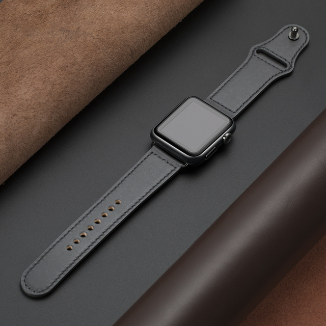 Genuine leather loop strap for apple watch band 42mm 44mm apple watch 4 5 38mm 40mm iwatch 3/2/1 correa replacement bracelet 5