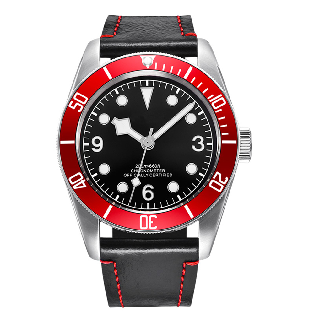 Corgeut 41mm Automatic Mechanical Watch Men Luxury Military Sport Diver Luminous Waterproof Clock Leather Strap Wristwatch Men