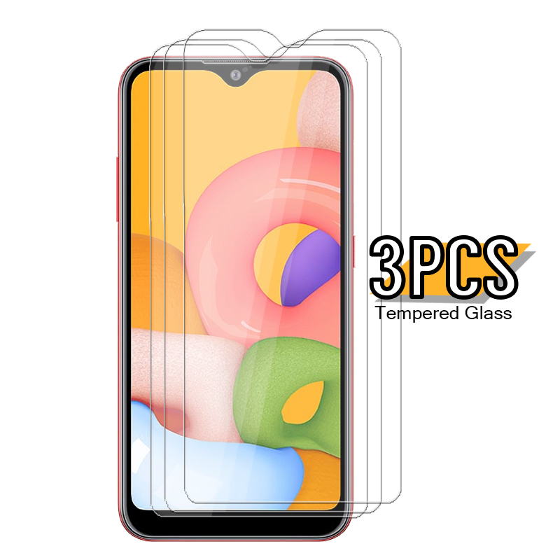 3pcs tempered glass for samsung galaxy a01 screen protector on sumsung sansung a01 a 01 01a galaxya01 a015f tremp glasses film
