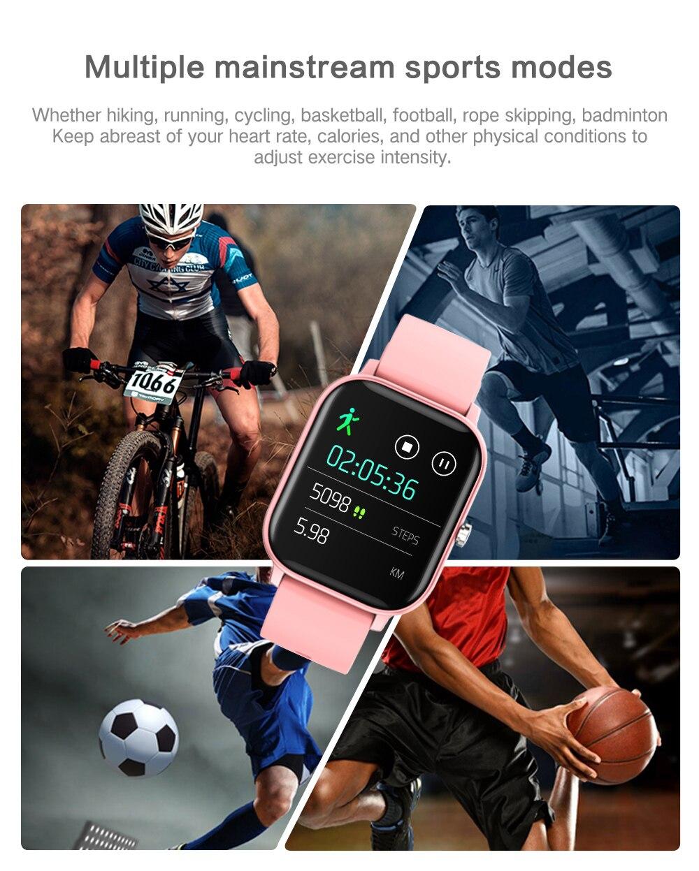 H7764ca62d9a548629e8c7627503a8045q 2021 New P8 Color Screen Smart Watch Women men Full Touch Fitness Tracker Blood Pressure Smart Clock Women Smartwatch for Xiaomi