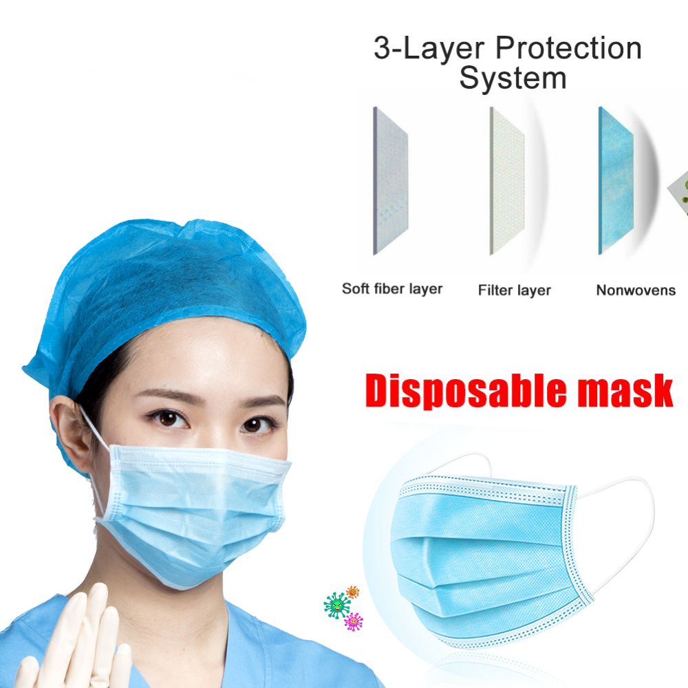3-Ply Non-woven Blue Face Mask Disposable Mascarillas Anti Dust PM2.5 Protective Masks In Stock Mask Free Shipping
