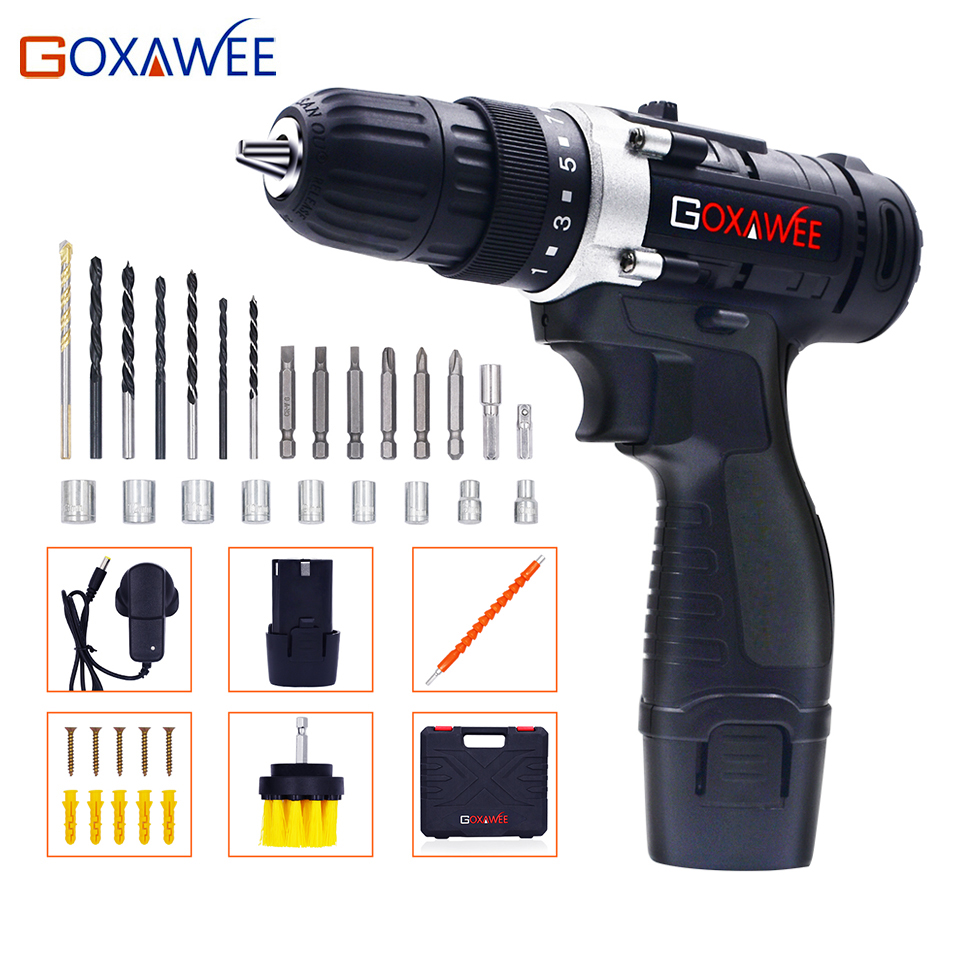 GOXAWEE 12V Max Electric Screwdriver Cordless Drill Mini Wireless Power Drill Driver DC DIY Tools Lithium