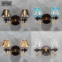 Nordic Led Wall Lamp Hotel Room Bedside Lamp Bedroom Lamp Modern Villa Glass Wall Sconce Light Home Decor Black retro Lighting недорого