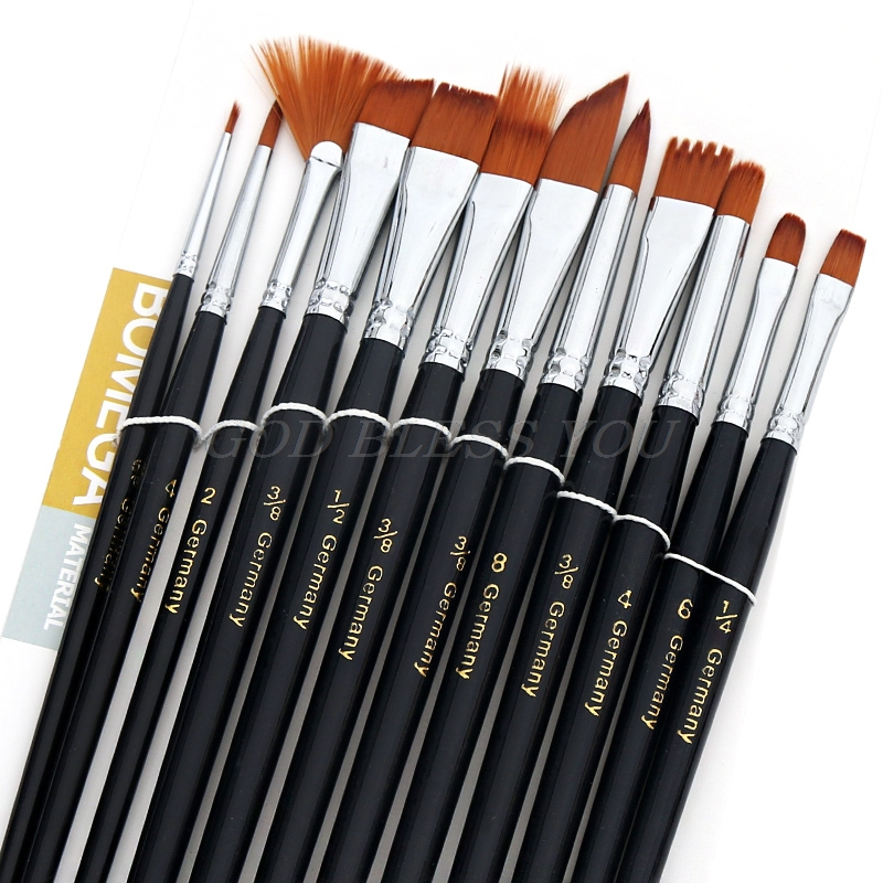 12Pcs Nylon Hair Acrylic Oil Painting Watercolor Artist Paint Brush Supplies Set Drop Ship