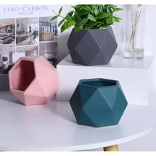 Modern European Creative Origami Flower Pots Ceramic Simple Polygon Tabletop Vase Home Living Room Decoration Flower Container