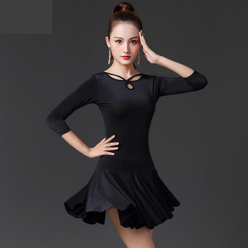 New Black Latin Dance Skirt Woman Practice Dress 2020 Performance Short-sleeve Sexy Latin Dance Skirt Woman Latin Dance Dresses