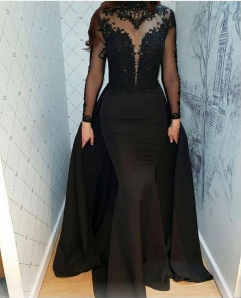 Black Muslim Evening Dresses Long 2020 Appliques Beaded Illusion Long Sleeves Mermaid Prom Gown Detachable Train Formal Dress