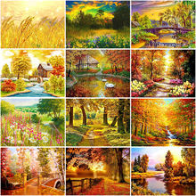 Diy 5d diamond painting autumn tree scenery embroidery landscape
