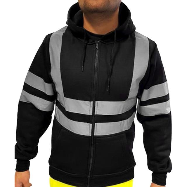 VICABO Men Stripe Patchwork Hooded  Jacket Ski Hoodies Reflective Visibility Workwear Coat Color Block 2