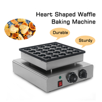 850W Electric Heart Shaped Waffle Maker Stainless Steel Waffle Cake Oven 25 Holes Baking Dessert Iron Hot Plate Machine 220V