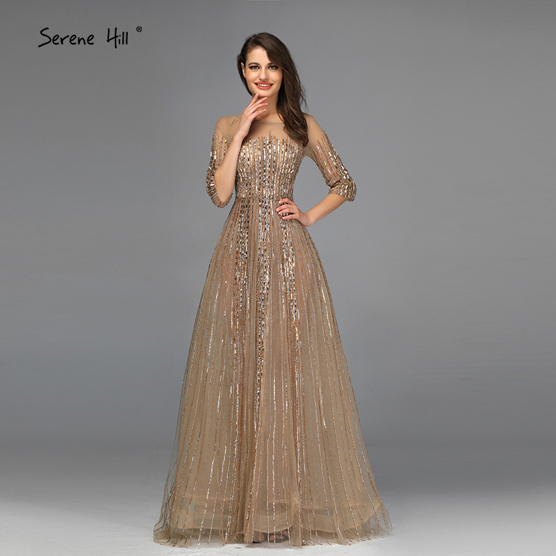Image 3 - Gold Dubai Design Long Sleeves Evening Dresses 2020 A Line Luxury Beading Crystal Evening Gowns Real Photo LA70170Evening Dresses   -
