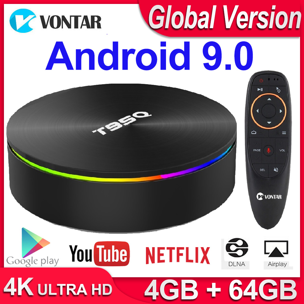 T95Q 4GB 64GB Android 9.0 TV BOX 4K lecteur multimédia DDR3 Amlogic S905X2 Quad Core 2.4G & 5GHz double Wifi BT4.1 100M H.265 Smart TV Box