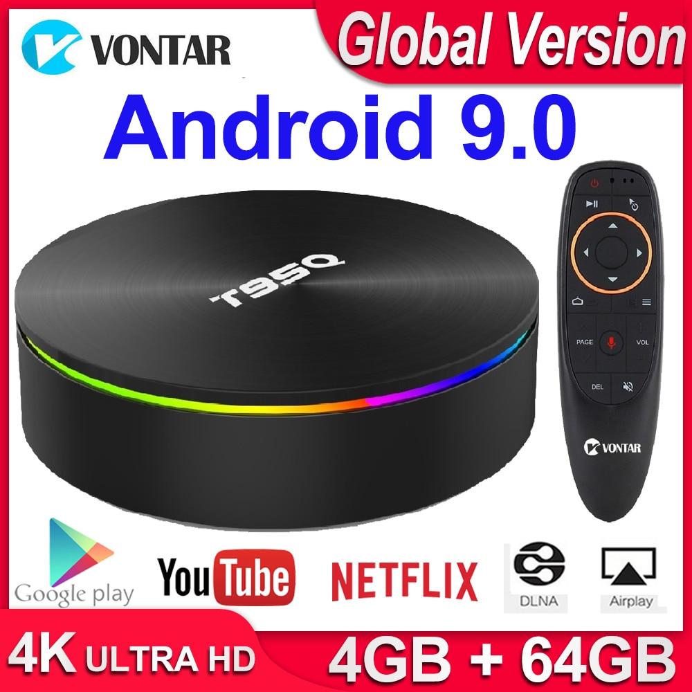 T95Q 4GB 64GB Android 9.0 TV BOX 4K Media Player DDR3 Amlogic S905X2 Quad Core 2,4G & 5GHz Dual Wifi BT4.1 100M H.265 Smart TV Box