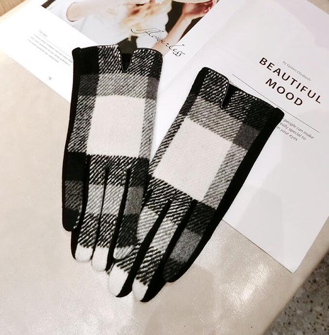 Women's Autumn Winter Warm Plaid Wool Gloves Lady's Checked Touch Screen Cashmere Glove Winter Driving Glove R2260