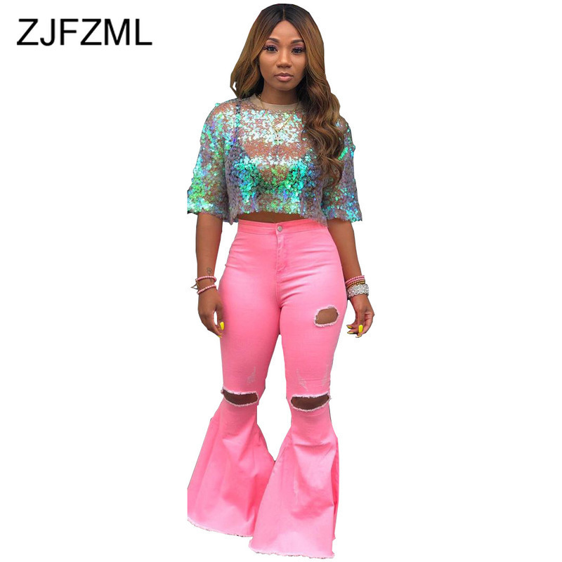 Washed Denim Sexy Flare Pants Women High Waist Hollow Out Bodycon Bell Bottom Trousers Plus Size Causal Pink Full Length Joggers