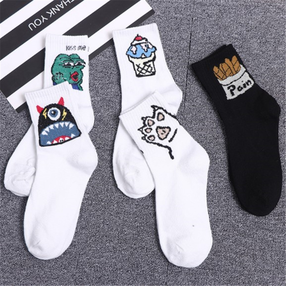 New Korean Novelty Cotton Crew Socks Funny Frog Ice Cream  Pattern Creative Harajuku Novelty White Funny Boys Sox