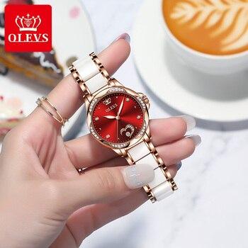OLEVS Women's Automatic Watch Ceramic Steel Strap Waterproof Mechanical Watches Brand Luxury Ladies Wrist Watch Relogio Feminino 3