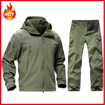Tactical Softshell TAD Sets Men Jacket + Pants Outdoor Camouflage Hunting Clothes Military Hiking Camping Windproof Hooded Suits 3pcs set tad shark softshell jacket outdoor clothes hunting jacket pants with shirts camouflage military army suits for hiking