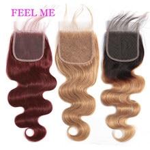 FEELME – perruque Lace Closure naturelle péruvienne Remy, cheveux ondulés, ombré 99j, 4x4, partie libre, # 1b/27, blond miel