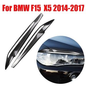 Image 1 - 2Pcs Koolstofvezel Auto Koplamp Wenkbrauwen Cover Interieurstickers Trim Decals Auto Accessoires Voor Bmw F15 X5 2014 2017