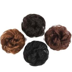Hairpiece Hair-Bun Ponytail Human-Hair Donut Extension Chignon Rubber-Band Elastic