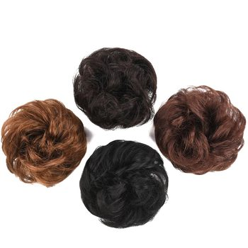 Chignon Hairpiece elastyczna gumka ludzkie włosy Chignon kok włosy w koński ogon kawałki pączek Chignon przyrząd do koka z włosów rozszerzenie tanie i dobre opinie Bybrana Donut chignon Remy włosy Matowe Brazylijski włosy Ciemniejszy kolor tylko