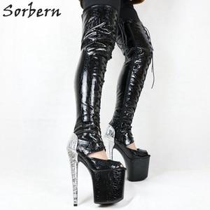Image 3 - Sorbern cobra vermelha peep toe tornozelo botas mulher 20 cm sapato de salto alto rendas acima botas plataforma exótica sapatos stripper ins venda quente
