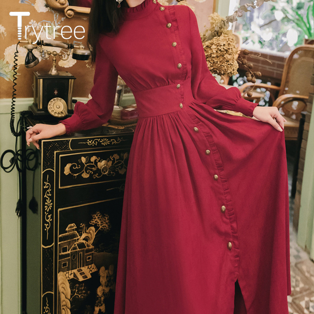 Trytree 2020 Autumn Winter Casual Women's Dress Corduroy Stand Collar Side Buttons Puff Sleeve Ankle-Length A-line Vintage Dress 2