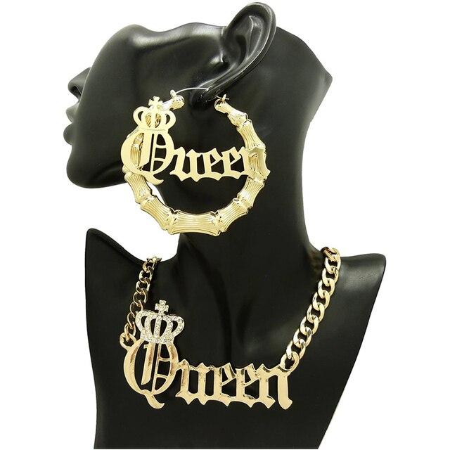 2021 moda feminina nome personalizável rainha colar sexy bambu brincos perfurados em ouro tonecustomize nome para presente feminino 2