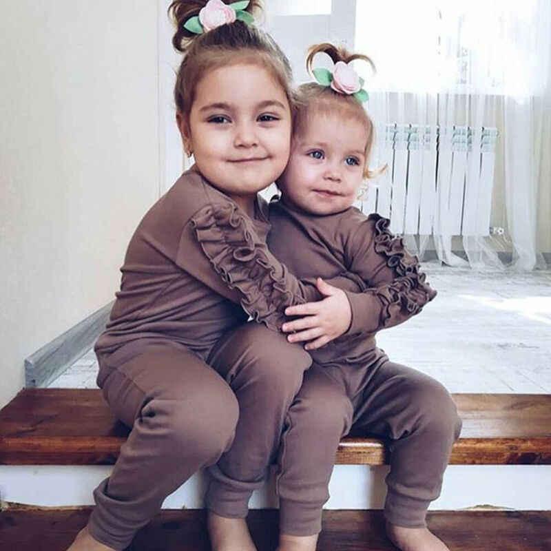 新生児女の赤ちゃんフリル Tシャツトップスレギンスパンツ 2 個服セット服長袖秋冬防寒着
