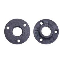 """10Pcs שחור דקורטיבי חשיל ברזל רצפה/קיר מקורבות נזיל יצוק ברזל אבזרי צנרת 1/2 """"3/4"""" BSP הברגה חור"""