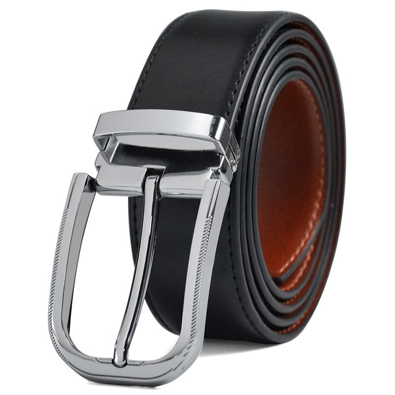 2019 High-quality Men's High-end Design Leather Men's Belt, 2 Buckle Double-sided Business Men's Belt And Exquisite Box Grop123