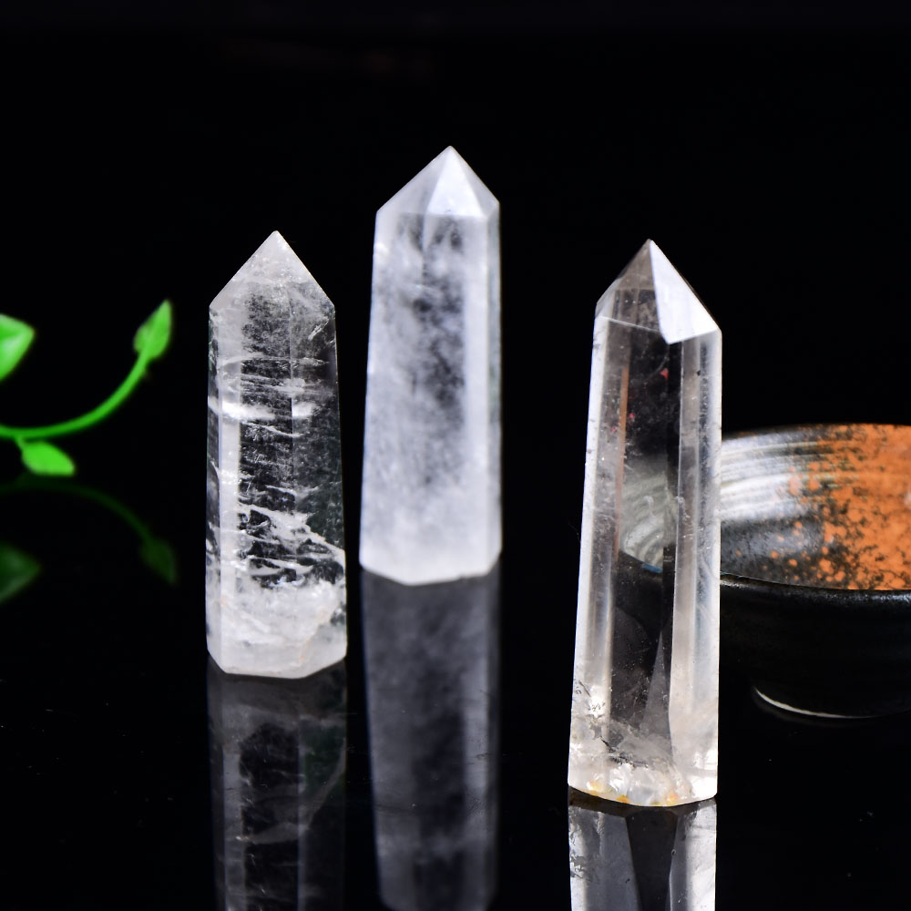 Natural Crystal Clear Quartz Transparency Quartz Point Healing Stone Hexagonal Prisms 50-80mm Obelisk Wand Stone Home Decor 1PC