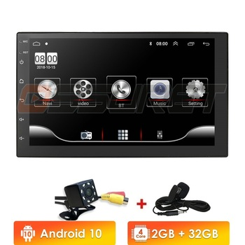 2 Din Car Radio Android 10 Universal 7 Inch Touch Screen Audio Stereo Bluetooth Wifi FM USB Multimedia MP5 MIC DAB+ DVR image