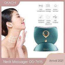 Pescoço massageador okachi gliya 2021 chegada massagem facial pele endurecimento rugas remoção vibração frio quente compressa led ems terapia