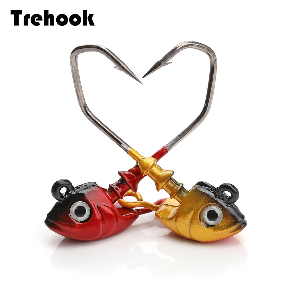 TREHOOK 4pcs Lot Lead Head Hook Crank Hard Bait Jig Head Hook Box Set 6 5g 8 2g Soft Worm Lure Multicolor Fishing Tackle Jigging in Fishing Lures from Sports Entertainment