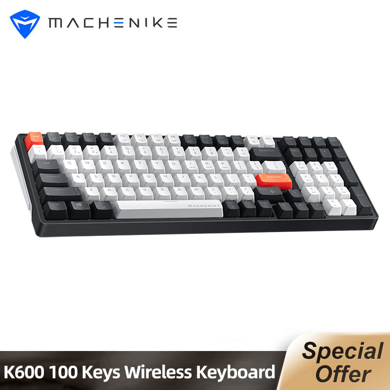 Machenike K600 Bluetooth Wireless Mechanical Keyboard Gaming 100 keys White Backlight Ergonomic Design For Mac Windows
