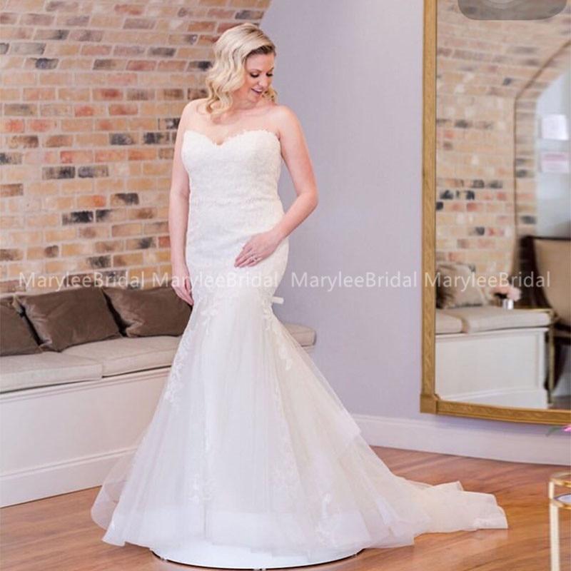 Plus Size Wedding Dresses Mermaid Style Sweetheart Neckline Custom Made Bridal Dress Appliques Chapel Train Vestido De Noiva
