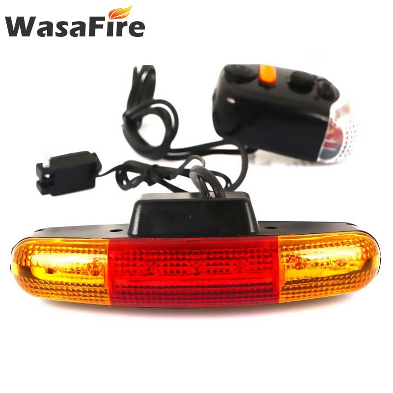 WasaFire 7 LED Bicycle Turn <font><b>Signal</b></font> <font><b>Light</b></font> with Horn MTB Front <font><b>Rear</b></font> <font><b>Lights</b></font> <font><b>Bike</b></font> Directional Brake <font><b>Lights</b></font> Cycling Taillight Lamp image