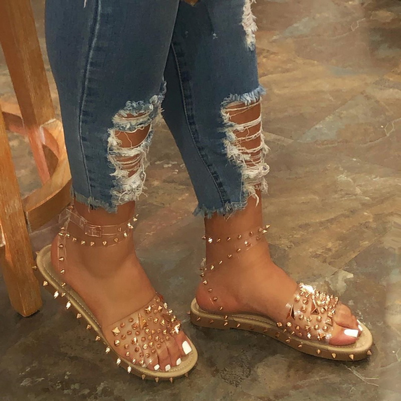 Oeak Women Summer Sandals Flat Heel Rivet Platform Peep Toe Ankle Buckle Fashion Punk Beach Ladies Shoes Zapatos De Mujer