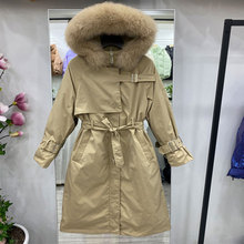 Puffer Jacket Coat Parkas Hooded Long-Down Female Winter 90%White-Duck-Down Women Real