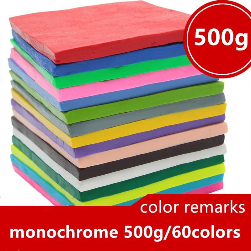 500G Single Piece Single Color Clay Mud Diy Soft Molding Process Oven Baking Clay Block Adult Children Birthday Gift