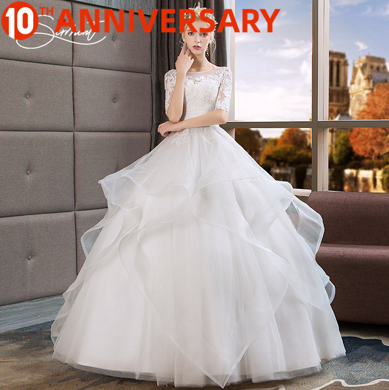 OllyMurs Wedding Dress 2019 New Summer Paragraph Word Shoulders In The Sleeves Bride Large Size Pettidress Women